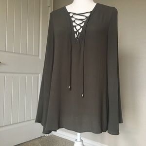 Alythea lace up collar boho peasant style blouse